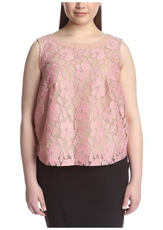 ABS A.B.S. by Allen Schwartz Plus Women's Lace Top with Chiffon Back