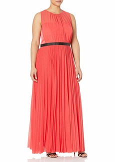 ABS A.B.S. by Allen Schwartz Plus Women's Plus-Size Sheer Gown with Pleated Skirt  16W