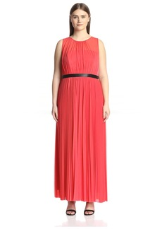 ABS A.B.S. by Allen Schwartz Plus Women's Plus-Size Sheer Gown with Pleated Skirt