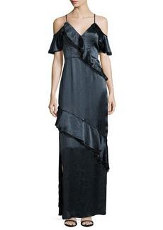 ABS by Allen Schwartz Ruffled Crinkle-Satin Gown
