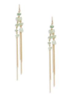 ABS A.B.S. By Allen Schwartz Summer Nights Semi-Precious Aventurine Linear Drop Pierced Earrings