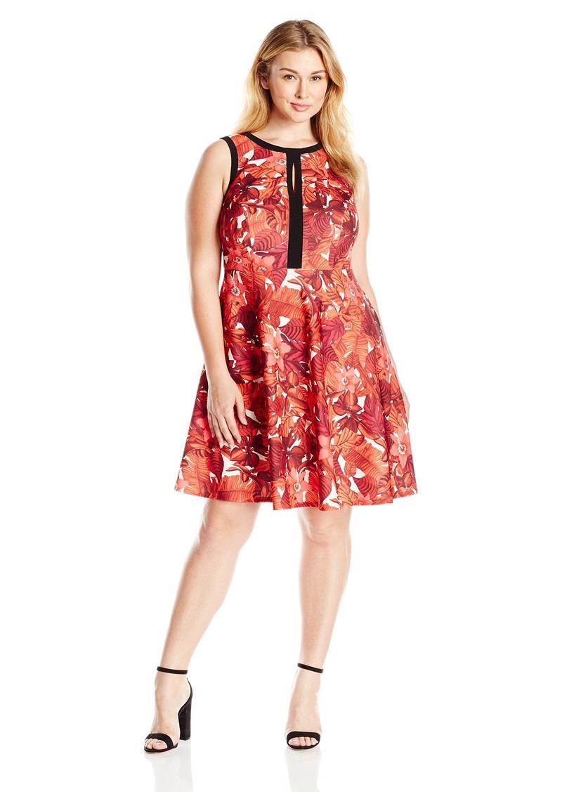 6ac8a0d857b ABS by Allen Schwartz Women s Plus Size Fit Flare Dress W  Keyhole 1X