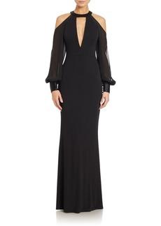ABS Cold-Shoulder Cutout Gown