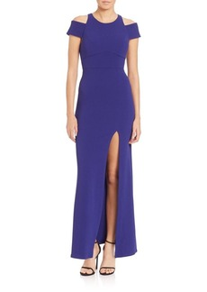 ABS Cold-Shoulder Slit Gown