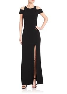 ABS Cutout Crepe Cold-Shoulder Gown