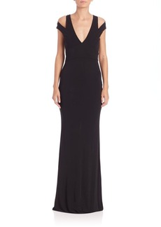 ABS Cutout Jersey Cold-Shoulder Gown