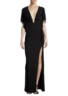 ABS Draped Ruffle Gown