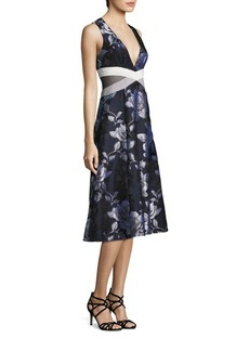 ABS Floral Jacquard Midi Dress
