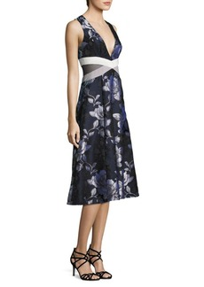 ABS Floral Jacquard Midi Dress