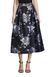 ABS Floral Jacquard Midi Skirt