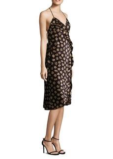 ABS Floral-Print Velvet Wrap Dress