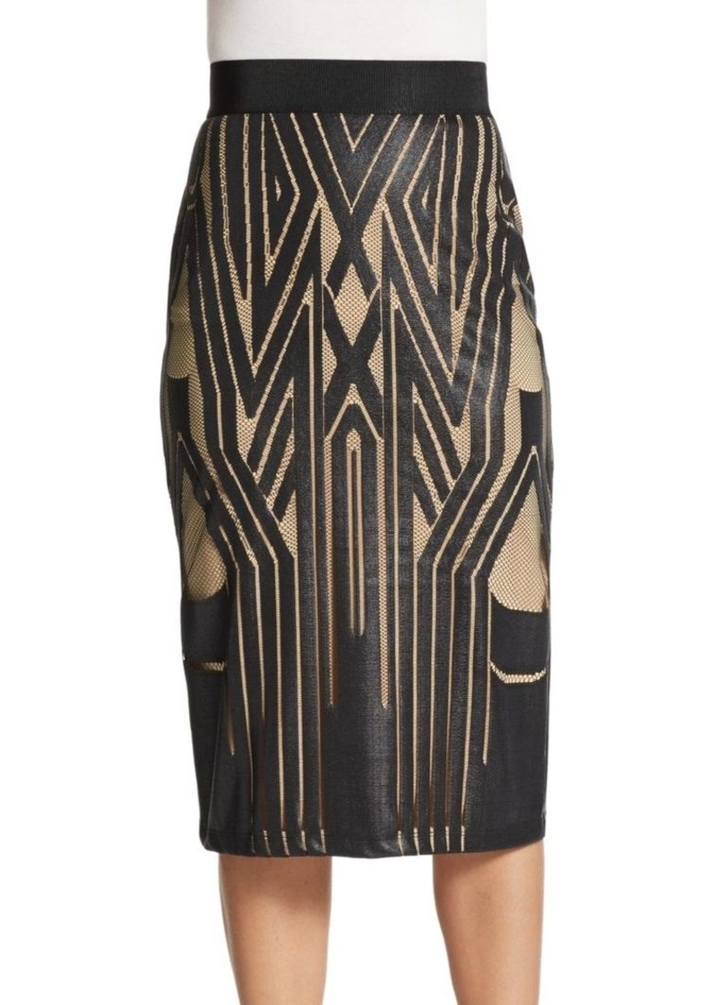 ABS Graphic Print-Front Pencil Skirt