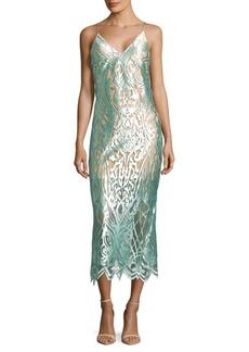 ABS Intricate Mesh Slip Dress