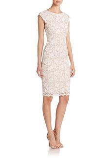 ABS Lace Cap-Sleeve Sheath Dress