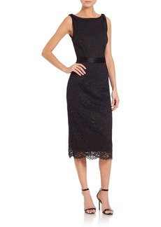 ABS Lace Satin-Contrast Sheath