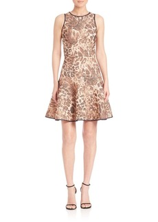 ABS Leopard-Print Fit-&-Flare Dress