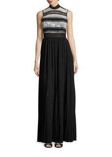 ABS Mixed-Media Pleated Gown