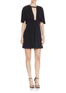ABS Monochromatic Cape Sleeve Dress