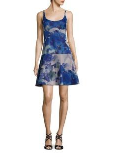 ABS Neoprene Floral-Print Drop-Waist Dress