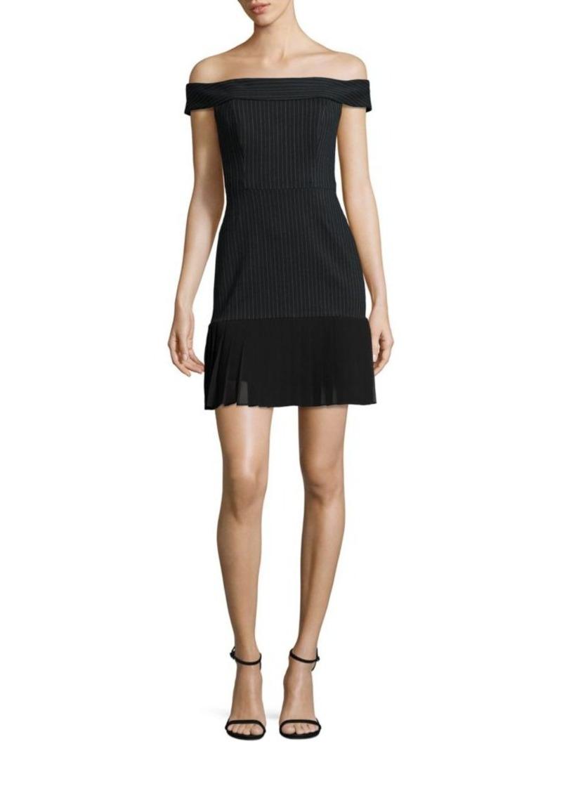 ABS Off-The-Shoulder Pleated Hem Dress