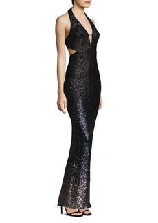 ABS Ombre Sequin Halter Gown