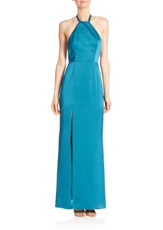 ABS Open Back Halter Gown