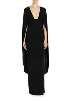ABS Plunging V-Neck Cape Gown