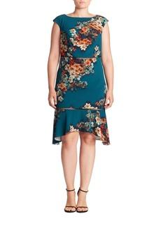 ABS, Plus Size Cutout Floral-Print Dress
