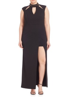 ABS, Plus Size Embellished Cutout Gown