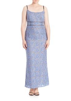 ABS, Plus Size Floral Lace Gown