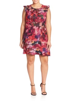 ABS, Plus Size Floral Printed Dress