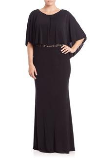ABS, Plus Size Lace-Back Cape Gown
