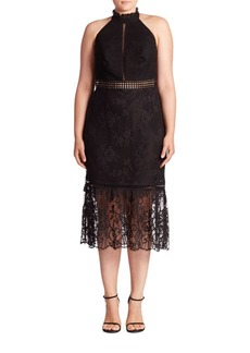 ABS, Plus Size Lace Halter Midi Dress