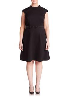 ABS, Plus Size Lace-Up Detail Cap-Sleeve Dress