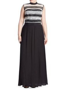 ABS, Plus Size Mixed Media Pleated Gown