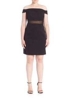ABS, Plus Size Off-The-Shoulder Cocktail Dress