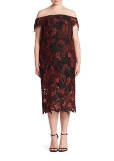 ABS, Plus Size Plus Off-The-Shoulder Lace Dress