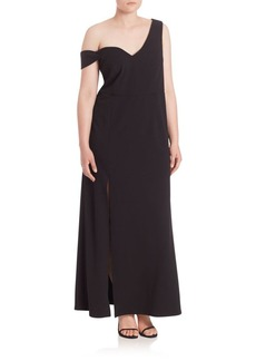 ABS, Plus Size One-Side Off-The-Shoulder Gown