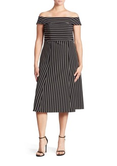 ABS, Plus Size Pinstripe Off-The-Shoulder Dress