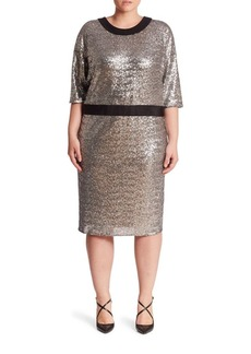 ABS, Plus Size Plus Domanin Sleeve Fitted Sequin Dress