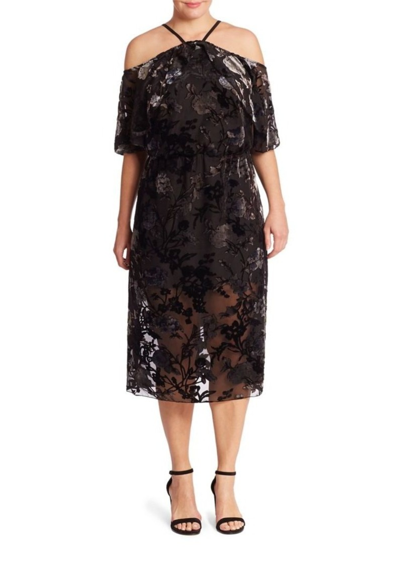 ABS, Plus Size Plus Floral Velvet Burnout Cold Shoulder Dress