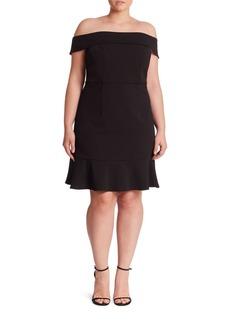 ABS, Plus Size Plus Off-the-Shoulder Scuba Short Dress