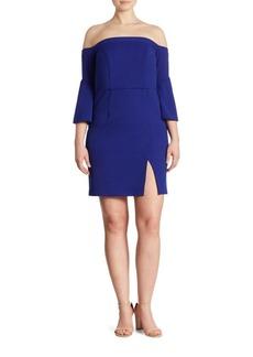 ABS, Plus Size Plus Off-the-Shoulder Short Scuba Dress