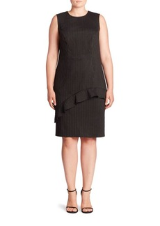 ABS Plus Ruffle Pinstripe Sheath Dress