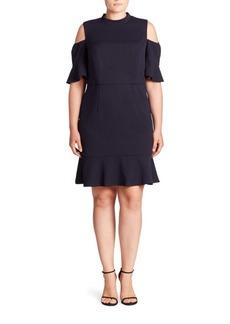 ABS, Plus Size Scuba Cold-Shoulder Dress