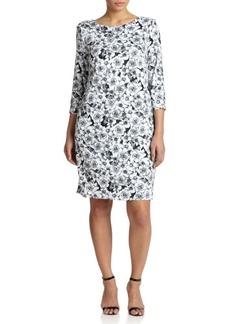 ABS, Plus Size Stretch Jersey Floral T-Shirt Dress