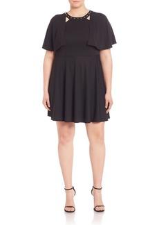 ABS, Plus Size Studded Cape Dress