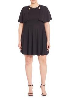 ABS Studded Cape Overlay Dress