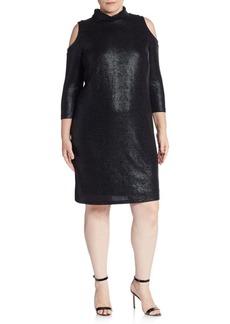 ABS, Plus Size Textured Cold-Shoulder Turtleneck Dress