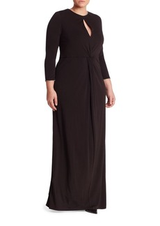 ABS, Plus Size Twist Front Keyhole Gown